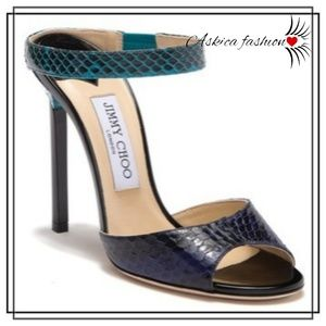 Jimmy Choo Deckle Snake Embossed Leather Sandal